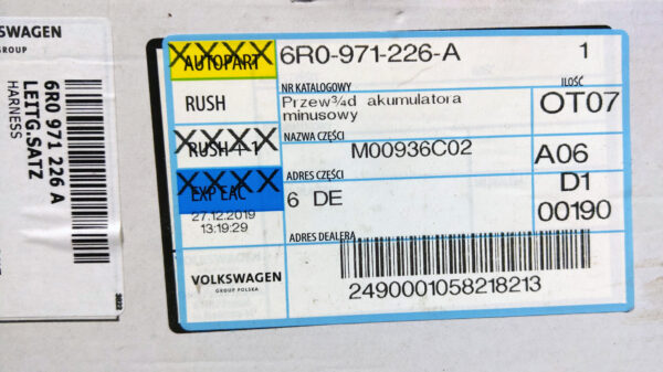 Bought some parts needed for battery relocation   6R0971226A IMAG8685